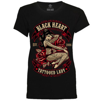 Ženska ulična majica - TATTOED LADY - BLACK HEART, BLACK HEART