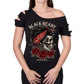 Ženska majica - PIN UP SKULL DESTROY - BLACK HEART, BLACK HEART