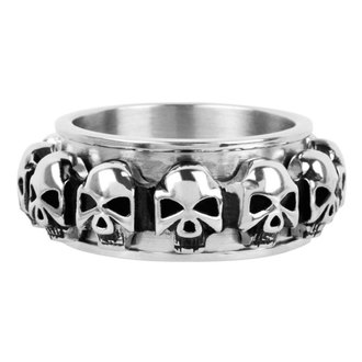 Prsten INOX - skulls around - FR1046, INOX