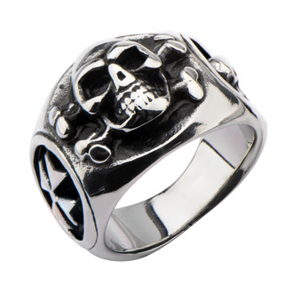 Prsten INOX - SKULL BACK CROSS BONE - FR1192, INOX