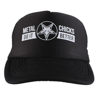 Kapa METAL CHICKS DO IT BETTER - Baphomet - Logo - Black, METAL CHICKS DO IT BETTER